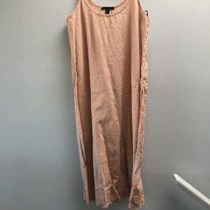 Pink Linen Midi Dress